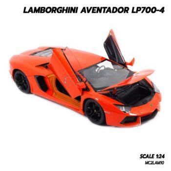 โมเดลรถ LAMBORGHINI AVENTADOR LP700-4 สีส้ม (1:24) รถเหล็กจำลองเหมือนจริง พร้อมตั้งโชว์
