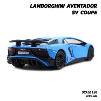 โมเดลรถ LAMBORGHINI AVENTADOR SV COUPE สีฟ้า โมเดลรถเหล็ก พร้อมตั้งโชว์