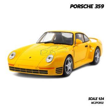 โมเดลรถ PORSCHE 359 สีเหลือง (1:24) รถโมเดลคลาสสิค พร้อมตั้งโชว์