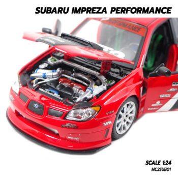 โมเดลรถ SUBARU IMPREZA PERFORMANCE สีแดง (1:24) รถโมเดลประกอบสำเร็จ เครื่องยนต์จำลองสมจริง