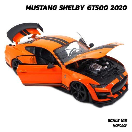 โมเดลมัสแตง MUSTANG SHELBY GT500 2020 สีส้มดำ (1:18) โมเดลประกอบสำเร็จ เปิดฝากระโปรงหน้าได้
