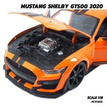 โมเดลมัสแตง MUSTANG SHELBY GT500 2020 สีส้มดำ (1:18) โมเดลประกอบสำเร็จ เครื่องยนต์จำลองเหมือนจริง