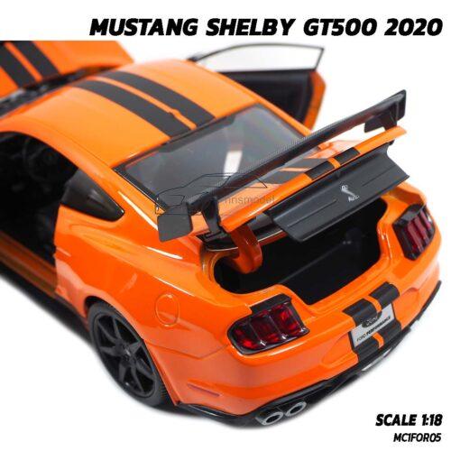 โมเดลมัสแตง MUSTANG SHELBY GT500 2020 สีส้มดำ (1:18) โมเดลประกอบสำเร็จ พร้อมตั้งโชว์