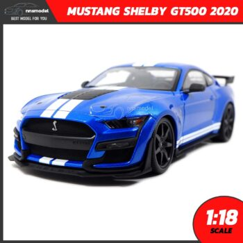 โมเดลรถ MUSTANG SHELBY GT500 2020 สีน้ำเงินขาว (Scale 1:18)