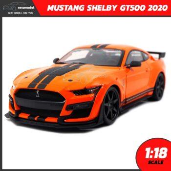 โมเดลรถ MUSTANG SHELBY GT500 2020 สีส้มดำ (Scale 1:18)