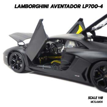 โมเดลรถ LAMBORGHINI AVENTADOR LP700-4 สีดำด้าน (Scale 1:18) รถเหล็กโมเดล ภายในรถจำลองสมจริง