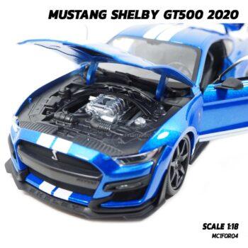 โมเดลรถ MUSTANG SHELBY GT500 2020 สีน้ำเงินขาว (Scale 1:18) เครื่องยนต์จำลองสมจริง