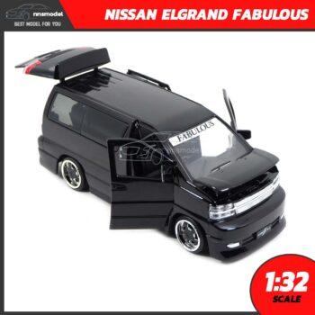 โมเดลรถตู้ NISSAN ELGRAND FABULOUS สีดำ (Scale 1:32) โมเดลรถเหล็ก เปิดได้ครบ