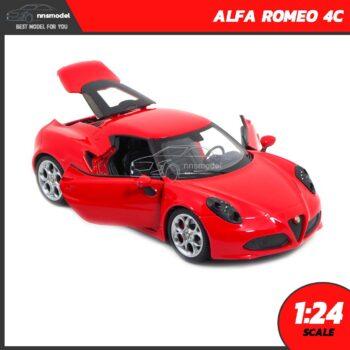 โมเดลรถสปอร์ต ALFA ROMEO 4C สีแดง (Scale 1:24) โมเดลประกอบสำเร็จ เปิดประตูรถซ้ายขวาได้