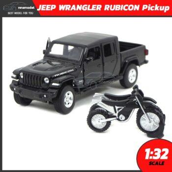 โมเดลรถ JEEP WRANGLER RUBICON กระบะสีดำ (Scale 1:32) โมเดลรถกระบะ โมเดลรถสะสม Jackie Kim