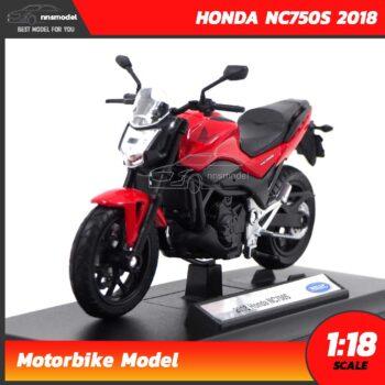 โมเดลบิ๊กไบค์ HONDA NC750S 2018 สีแดงดำ (1:18) โมเดลรถสะสม Welly