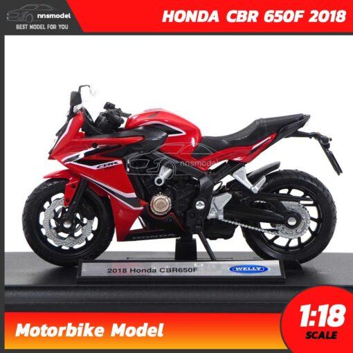 โมเดลมอเตอร์ไซด์ HONDA CBR 650F 2018 สีแดงดำ (1:18) โมเดลรถสะสม Welly พร้อมตั้งโชว์