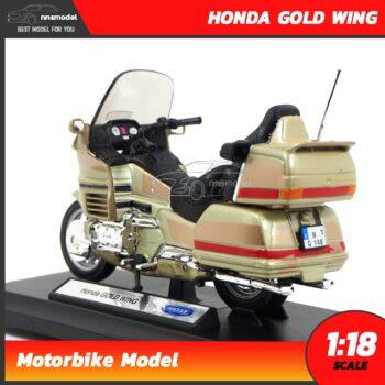 โมเดลมอเตอร์ไซด์ HONDA GOLD WING สีทอง (Scale 1:18) โมเดลประกอบสำเร็จ โมเดลรถสะสม Welly