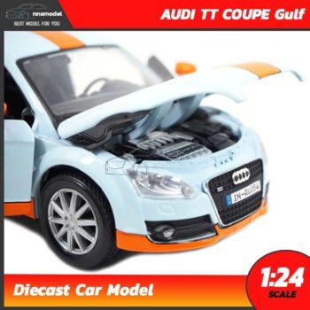 โมเดลรถสปอร์ต AUDI TT COUPE Gulf โมเดลรถ 1:24 เครื่องยนต์จำลองสมจริง