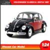 โมเดลรถโฟล์คเต่า Volkswagen Classical Beetle 1967 สีดำแดง (Scale 1:24)