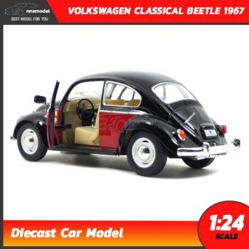 โมเดลรถโฟล์คเต่า Volkswagen Classical Beetle 1967 สีดำแดง (Scale 1:24) รถเหล็กโมเดลประกอบสำเร็จ