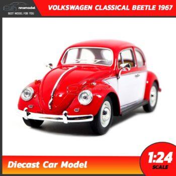 โมเดลรถโฟล์คเต่า Volkswagen Classical Beetle 1967 สีแดงขาว (Scale 1:24)