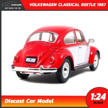 โมเดลรถโฟล์คเต่า Volkswagen Classical Beetle 1967 สีแดงขาว (Scale 1:24) model รถเหล็ก kinsmart