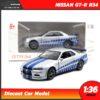 โมเดลรถ นิสสัน จีทีอาร์ Nissan GT-R R34 สีบรอนด์เงิน (Scale 1:36)