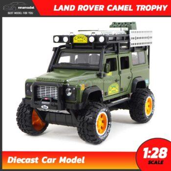 โมเดลรถ LAND ROVER CAMEL TROPHY Offroad สีเขียวขี้ม้า (1:28)