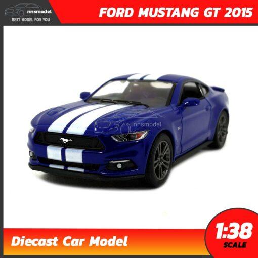 โมเดลรถมัสแตง FORD MUSTANG GT 2015 คาดลาย (Scale 1:38) สีน้ำเงิน รถเหล็กโมเดล พร้อมตั้งโชว์