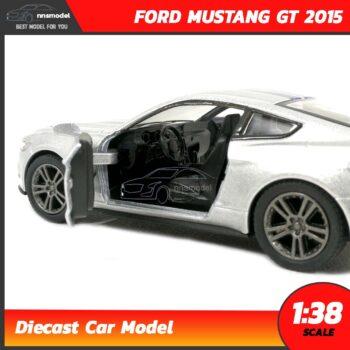 โมเดลรถมัสแตง FORD MUSTANG GT 2015 คาดลาย (Scale 1:38) สีบรอนด์เงิน รถเหล็กโมเดล ภายในรถจำลองสมจริง