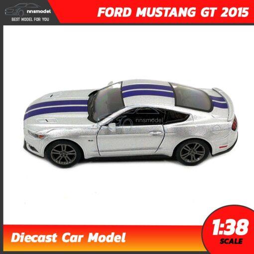 โมเดลรถมัสแตง FORD MUSTANG GT 2015 คาดลาย (Scale 1:38) สีบรอนด์เงิน model รถเหล็ก จำลองสมจริง