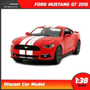 โมเดลรถมัสแตง FORD MUSTANG GT 2015 คาดลาย (Scale 1:38) สีแดง รถเหล็กโมเดล พร้อมตั้งโชว์