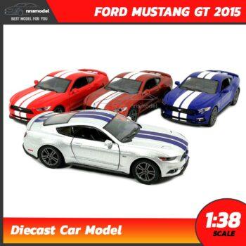 โมเดลรถมัสแตง FORD MUSTANG GT 2015 คาดลาย (Scale 1:38) รถเหล็กจำลอง มี 4 สี