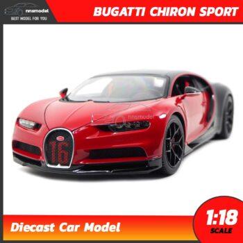 โมเดลรถสปอร์ต BUGATTI CHIRON SPORT สีแดงดำ Scale 1:18