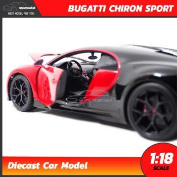 โมเดลรถสปอร์ต BUGATTI CHIRON SPORT สีแดงดำ (Scale 1:18) รถเหล็กจำลอง ภายในรถจำลองเหมือนจริง