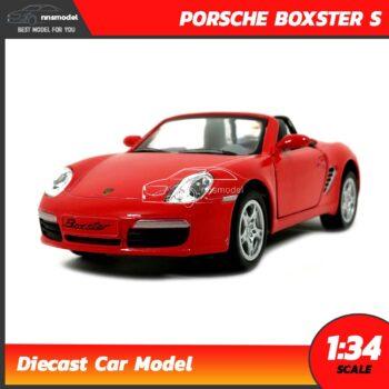โมเดลรถสปอร์ต PORSCHE BOXSTER S (Scale 1:34) โมเดลรถเหล็ก สีแดง