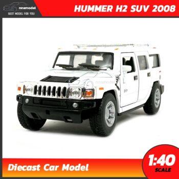 โมเดลรถเหล็ก HUMMER H2 SUV 2008 (Scale 1:40) รถโมเดลจำลอง เหมือนจริง Diecast Model สีขาว