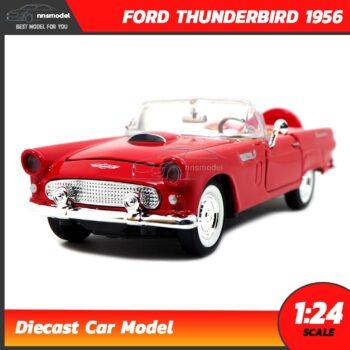 โมเดลรถโบราณ FORD THUNDERBIRD 1956 สีแดง (Scale 1:24) รถเหล็กจำลอง Diecast Model
