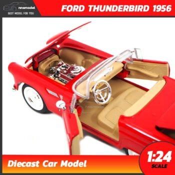 โมเดลรถโบราณ FORD THUNDERBIRD 1956 สีแดง (Scale 1:24) รถเหล็กจำลองเหมือนจริง ภายในรถและเครื่องยนต์จำลองเหมือนจริง