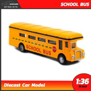 โมเดลรถโรงเรียน School Bus โมเดลรถบัส รถเหล็กจำลอง มีลานดึงปล่อยรถวิ่งได้
