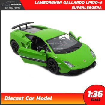 โมเดลรถ LAMBORGHINI GALLARDO LP570-4 SUPERLEGGERA สีเขียว (Scale 1:36) รถเหล็กโมเดล เปิดประตูซ้ายขวาได้