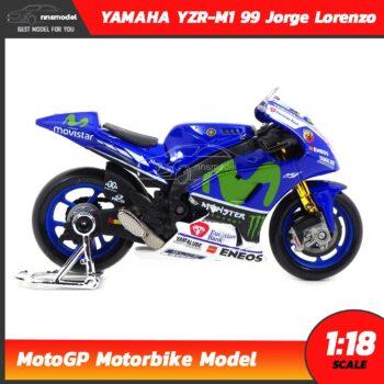 โมเดล MotoGP Yamaha YZR-M1 99 Jorge Lorenzo (1:18) โมเดลรถแข่ง โมโตจีพี ประกอบสำเร็จ