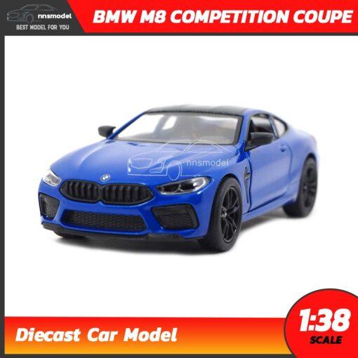 โมเดลรถ BMW M8 Competition Coupe สีน้ำเงิน (Scale 1:38) รถเหล็กจำลองสมจริง