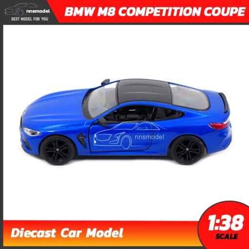 โมเดลรถ BMW M8 Competition Coupe สีน้ำเงิน (Scale 1:38) รถโมเดลเหล็ก Diecast Model