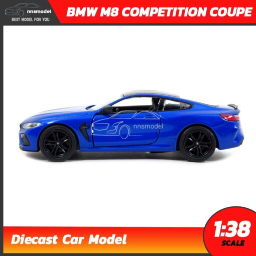 โมเดลรถ BMW M8 Competition Coupe สีน้ำเงิน (Scale 1:38) รถโมเดลเหล็ก มีลานวิ่งได้