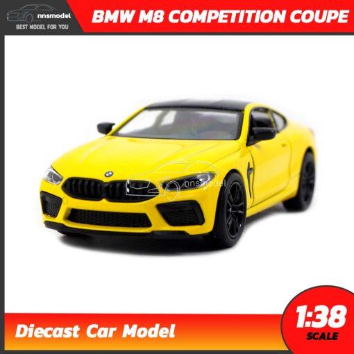 โมเดลรถ BMW M8 Competition Coupe สีเหลือง (Scale 1:38) รถโมเดลเหล็ก มีลานวิ่งได้