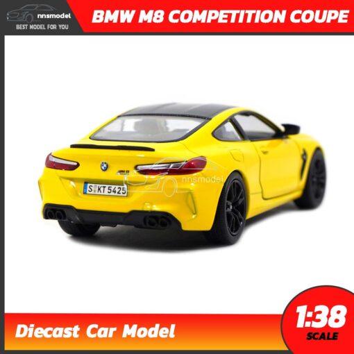 โมเดลรถ BMW M8 Competition Coupe สีเหลือง (Scale 1:38) รถโมเดลเหล็ก Diecast Model