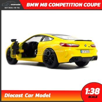 โมเดลรถ BMW M8 Competition Coupe สีเหลือง (Scale 1:38) รถโมเดลเหล็ก จำลองสมจริง