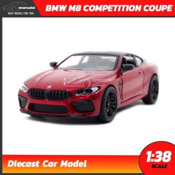 โมเดลรถ BMW M8 Competition Coupe สีแดง (Scale 1:38) รถเหล็กจำลอง เปิดประตูซ้ายขวาได้