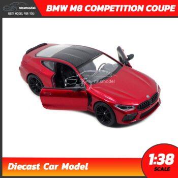 โมเดลรถ BMW M8 Competition Coupe สีแดง (Scale 1:38) Diecast Model