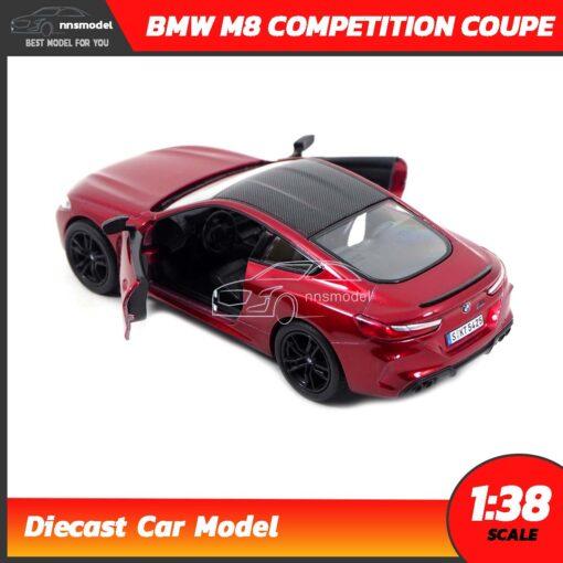 โมเดลรถ BMW M8 Competition Coupe สีแดง (Scale 1:38) รถเหล็กจำลองสมจริง