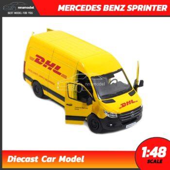โมเดลรถตู้ MERCEDES BENZ SPRINTER DHL รถตู้ (Scale 1:48) จำลองเหมือนจริง เปิดประตูซ้ายขวาได้