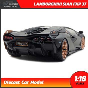 โมเดลรถ LAMBORGHINI SIAN FKP 37 สีดำด้าน (Scale 1:18) Diecast Model