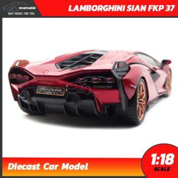 โมเดลรถ LAMBORGHINI SIAN FKP 37 สีแดง (Scale 1:18) โมเดลรถสะสม ประกอบสำเร็จ Diecast Model